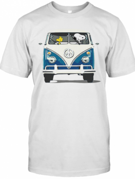 Snoopy And Woodstock Driving Peace Bus T-Shirt