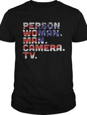 Person woman man camera tv american flag independence day shirt