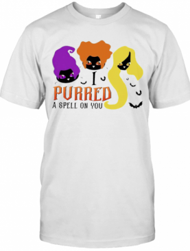 Black Cat Hocus Pocus I Purred A Spell On You Halloween T-Shirt