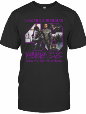 Chadwick Boseman 43 Wakanda Forever 1976 2020 Signature Thank You For The Memories T-Shirt