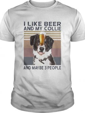 I like beer and my collie and maybe 3 people vintage retro shirt