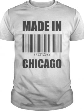 Made In Chicago Barcode With Numbers 773 312 872 Area Codes shirt