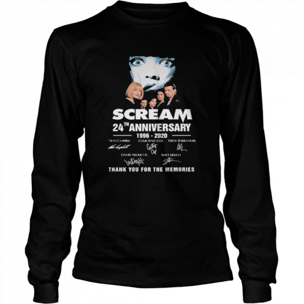 Scream 24th Anniversary 1996 2020 Thank You For The Memories Signatures  Long Sleeved T-shirt