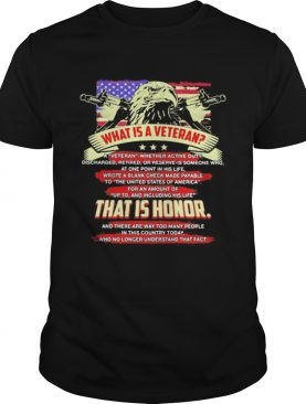 What is a veteran that is honor american flag eagle shirt