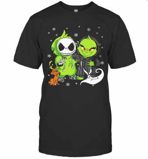 Baby Grinch And Baby Jack Skellington With Boo Christmas T-Shirt Classic Men's T-shirt