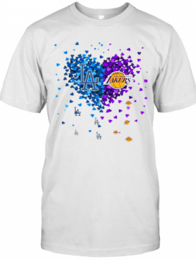 Los Angeles Dodgers And Los Angeles Lakers Heart T-Shirt