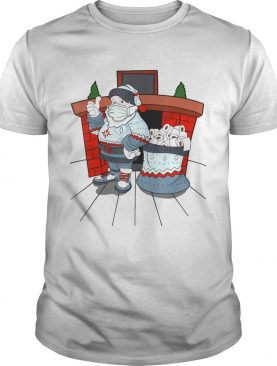 Santa with ugly sweater mask and a bag full of toilet paper shirt