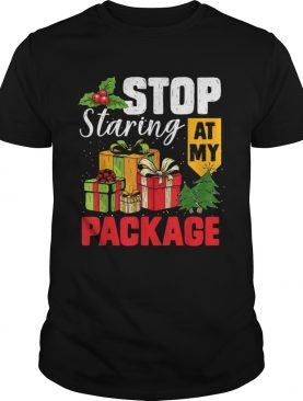 Stop Staring At My Package Christmas Tree shirt