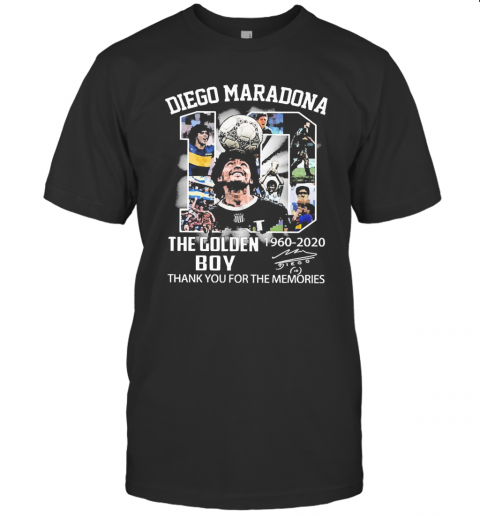10 Diego Maradona The Golden Boy 1960 2020 Thank You For The Memories Signature T-Shirt Classic Men's T-shirt