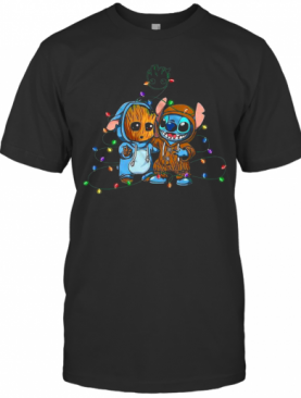 Baby Groot And Baby Stitch Merry Christmas Light T-Shirt