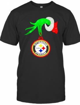 Grinch Hand Holding Pittsburgh Steelers Merry Christmas T-Shirt