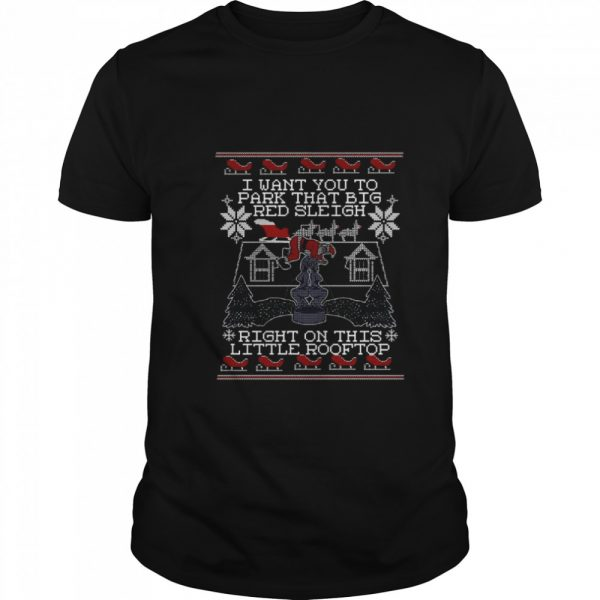 I Want You To Park That Big Red Sleigh Right On This Little Rooftop Ugly Christmas  Classic Men's T-shirt