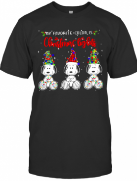 My Favorite Color Is Christmas Lights Snoopys Xmas T-Shirt