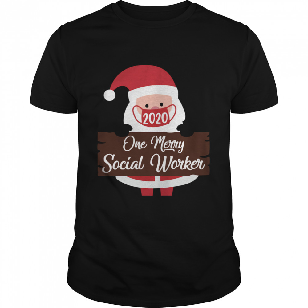 Santa Claus Face Mask 2020 One Merry Social Worker Christmas  Classic Men's T-shirt