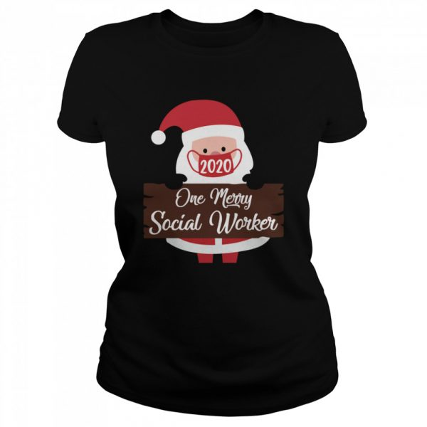 Santa Claus Face Mask 2020 One Merry Social Worker Christmas  Classic Women's T-shirt