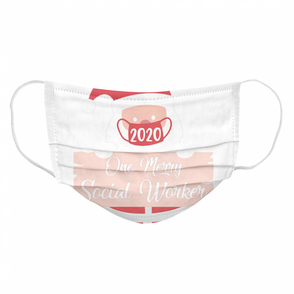 Santa Claus Face Mask 2020 One Merry Social Worker Christmas  Cloth Face Mask