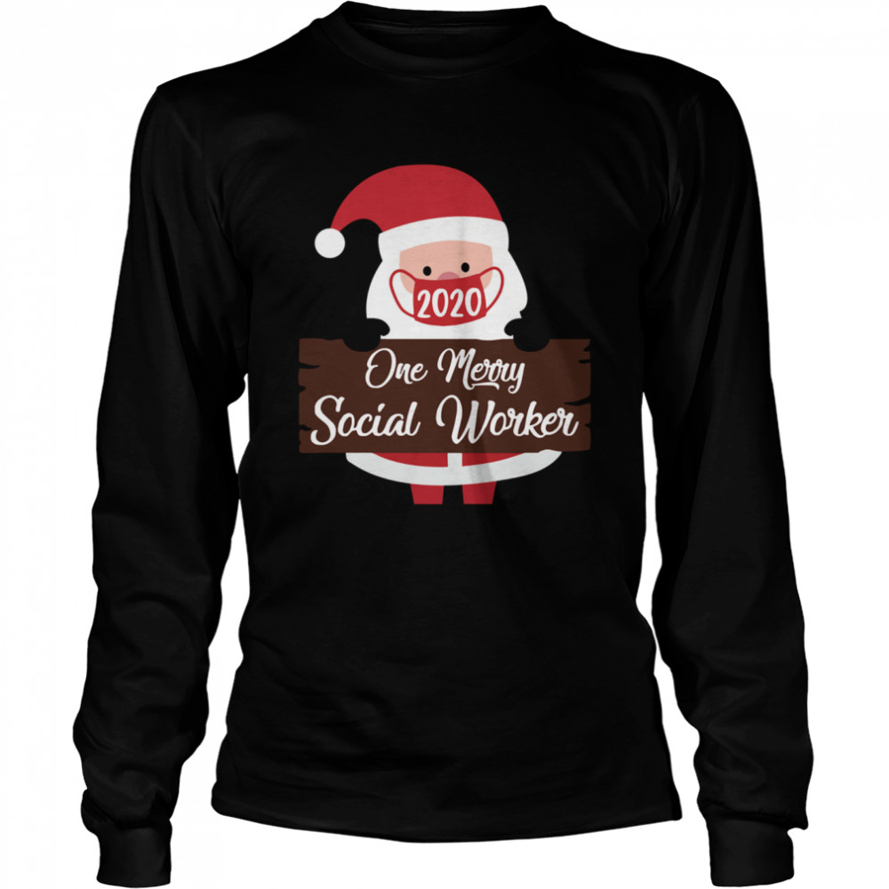 Santa Claus Face Mask 2020 One Merry Social Worker Christmas  Long Sleeved T-shirt