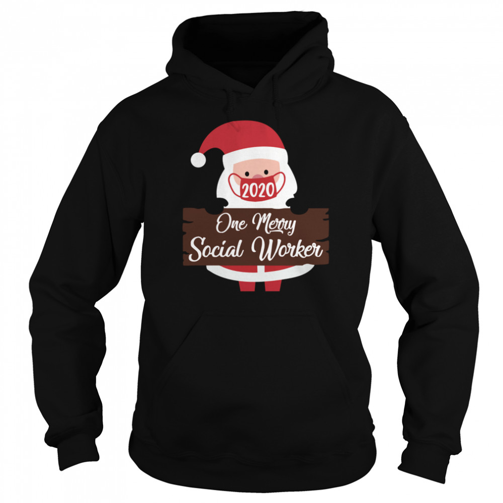 Santa Claus Face Mask 2020 One Merry Social Worker Christmas  Unisex Hoodie