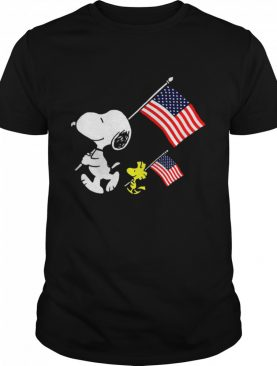 Snoopy And Woodstock Holding American Flag 4th Of July shirt