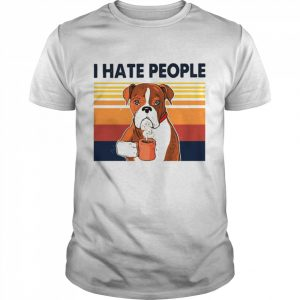 Labrador Retriever Drink Coffee I Hate People Vintage 2021  Classic Men's T-shirt
