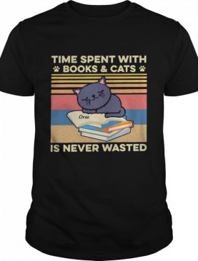 Time Spent With Books And Cats Is Never Wasted Vintage shirt